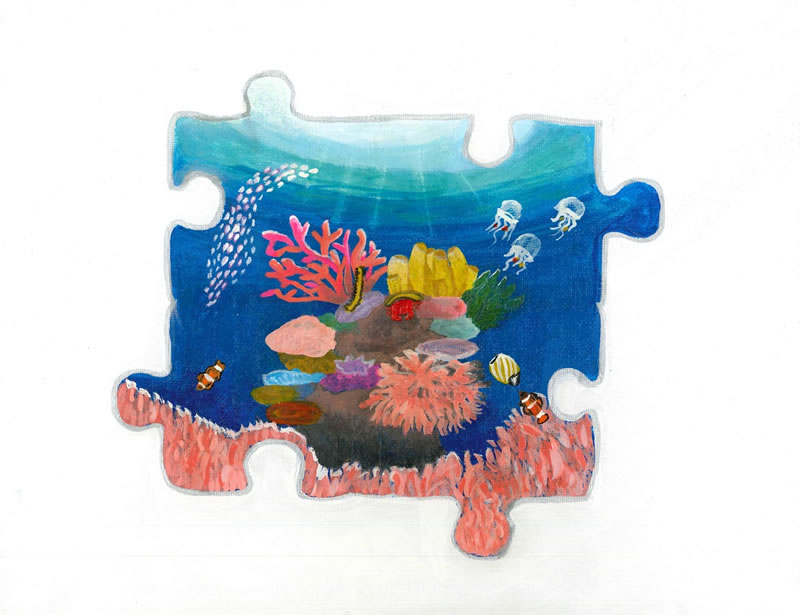 Naomi Valdez, Age 14, Hallandale Beach, FL; Symbiosis on a Canvas