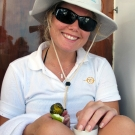 Georgina Evans with a bird.