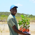 Before planting the mangrove propagules, student must wade out into the mangrove mud. This Abaco Central High School student generously carries the mangrove seedlings to their new home.