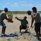 Abaco Central High School students prepare to plant their first mangrove seedling.