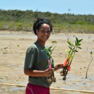 Forest Heights Academy student collects her and her friends mangroves and she is ready to plant them.