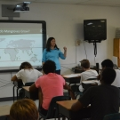 Our Director of Education, Amy Heemsoth teaching 10th grade Biology students about the basics of mangroves at Forest Heights Academy.