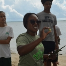 FRIENDS of the Environment's Education Officer, Cassandra Abraham, shows students the seeds from different mangrove species and asks them to identify each one.