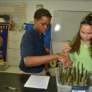 Students plant their mangrove seedlings in mud.