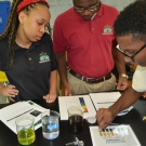 Year 2 B.A.M. participants from Forest Heights Academy, test the pH of various liquids.
