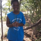 Abaco Central High School student has found all of her mangrove propagules. Now she is ready to plant them.