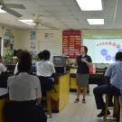 Our Director of Education Amy Heemsoth teaching students at Abaco Central High School about food webs.