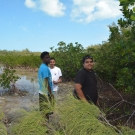 Forest Heights Academy group members take a time out from monitoring their mangroves to pose for a photo.