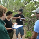 Forest Heights students record their data in the mangrove journals.