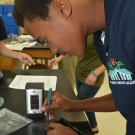 Forest Heights Academy Marine Biology student carefully uses a scalpel to cut or isolate a small piece of his diseased mangrove leaf. The student will place the leaf in agar and wait to see if fungus grows.