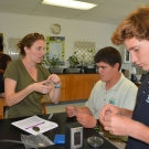 To prevent bacterial contamination, Ryann Rossi, PhD candidate at North Carolina State University shows students how to seal their agar plates with Parafilm.