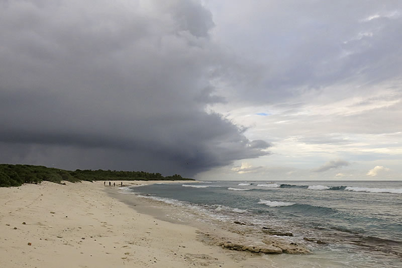 A storm cloud moves in over Danger Island.