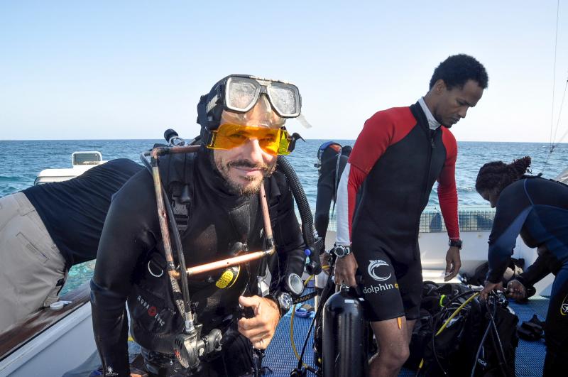 Bernhard Reigl returns from a dive.