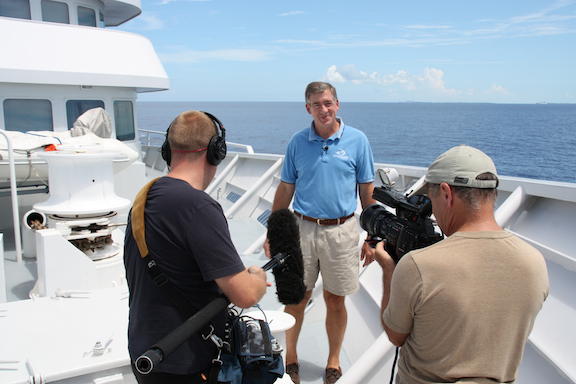 Cameraman Doug Allan shoots an interview with Captain Philip Renaud, Executive Director of the Living Oceans Foundation, aboard the M/Y Golden Shadow.