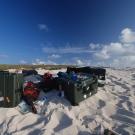 Film gear on the Beach of Huon, New Caledonia.