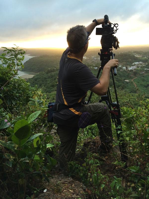 Cameraman James Ball, shooting sunrise in Tonga