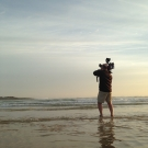 Cameraman Doug Allan filming on the coast of Senegal.