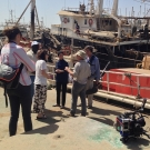 Filming aboard the captured illegal fishing vessel Asian Warrior.