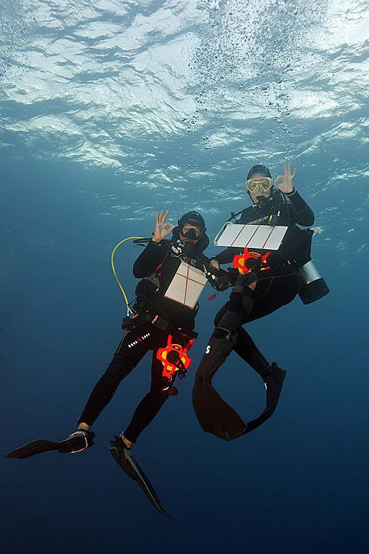 Fish survey team of Badi Samaniego and Valeriya Komyakova.