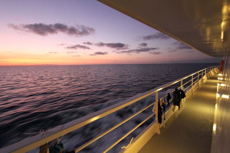 Twilight time on the M/V Golden Shadow.