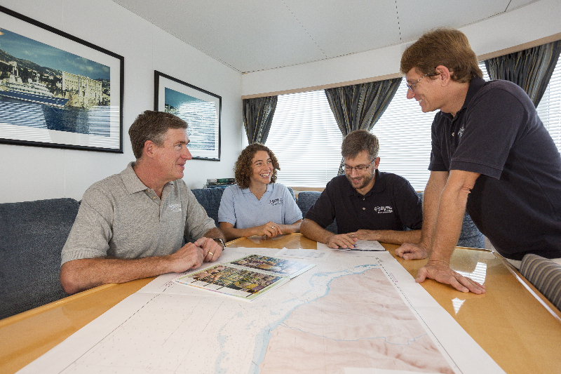 Planning meeting with Capt. Phil Renaud, Brian Becker, Andrew Bruckner and Marie Kospartov.  On board the M/Y Golden Shadow.