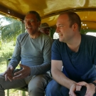 Dr. Daniel Pauly and Dr. Stephen Box discuss artisanal fishing on their way to the coast of Honduras