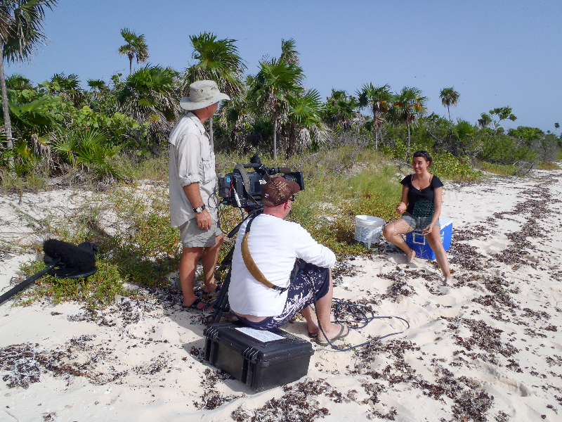 Dr. Sonia Bejarano gives an interview to the film crew.