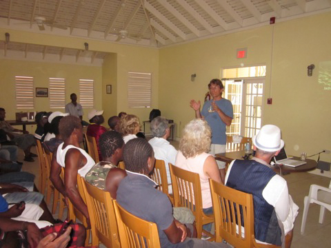Andrew Bruckner does educational outreach in Jamaica.