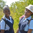 Two students take a deep breath as they prepare for their time in the mangrove forest.