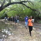 Students from Marcus Garvey Technical School going on their first mangrove field trip to learn about this unique ecosystem.