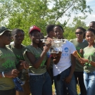 Students from William Knibb High School were excited to help recover the drone after taking aerial shots of the mangrove forest.