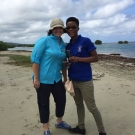 Director of Education, Amy Heemsoth poses for a photo with Shanna Thomas, Outreach Officer at the University of the West Indies Discovery Bay after a successful J.A.M.I.N. field trip to the mangroves.