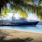 M/Y Golden Shadow, docked in Port Antonio, Jamaica.