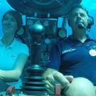 Dr. Fanny Douvere heading deep into the Sargasso Sea in a Nekton Submersible.