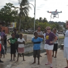Joao Monteiro practices flying the drone in Gizo.