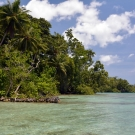 Solomon Islands tropical oasis near Morovo Lagoon.