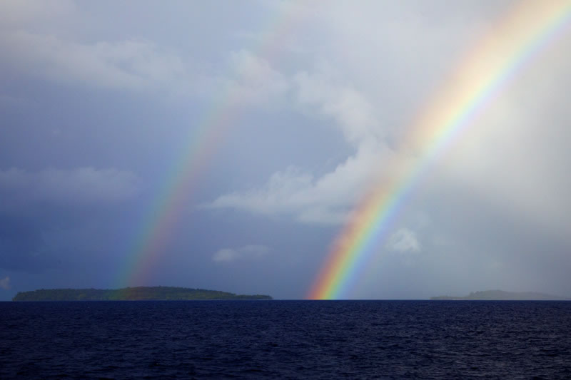 It was a good start to our day waking up to a double rainbow near Malakobi Island.