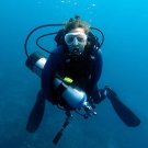 Researcher Renee Carlton hard at work studying the effect of ocean acidification on corals.
