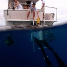 Scientists boarding the Calcutta after returning from a dive.