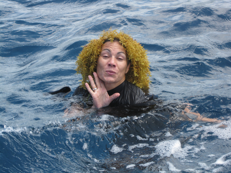 Dr. Clare Morrall plays around in the water at the end of a dive.