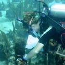 Amanda Williams mesuring dictyota algae.
