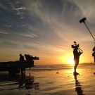 An early start to the day for fishermen and filmmakers alike.