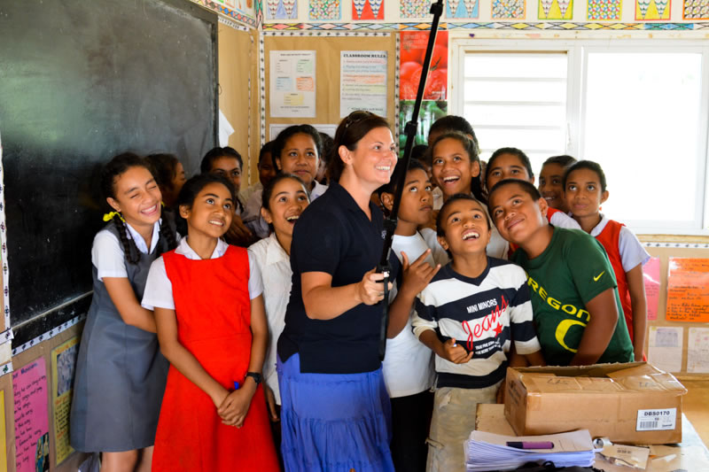Director of Education enjoying taking selfie photos with students from GPS Neiafu