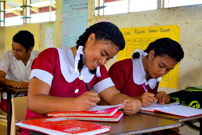 Students at Mizpah High School taking educational survey