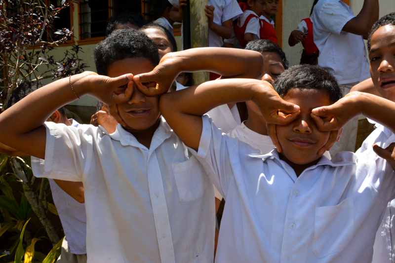 Students at GPS Tu'anekivale making funny faces for the photographer.