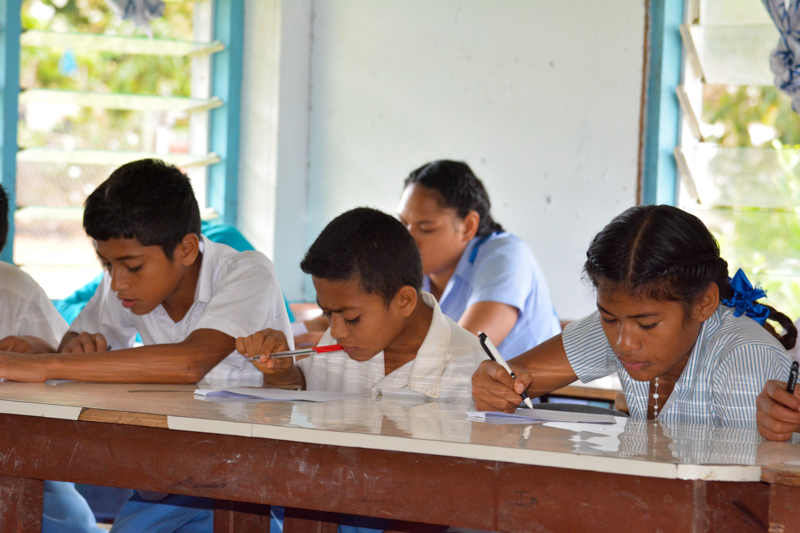 St. Peter Chanel students concentrating hard while taking coral reef survey.