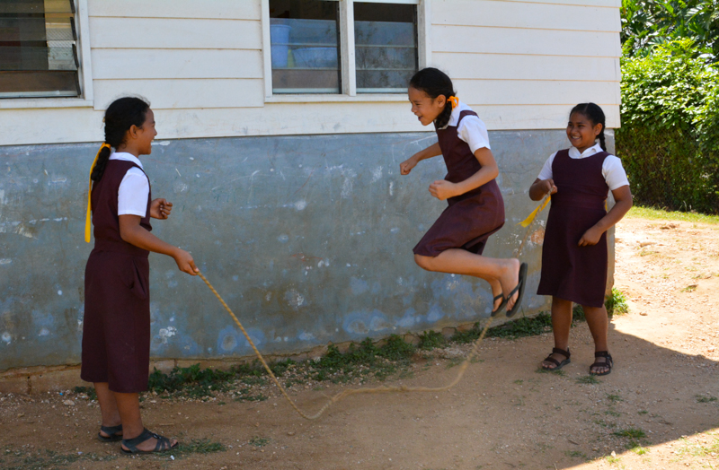 Vava'u Side School students jumping rope at recess.