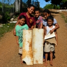 Tongan kids who created makeshift plastic