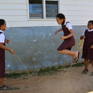 Vava'u Side School students jumping rope at recess.