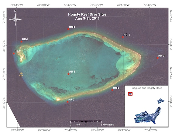 Hogsty Reef sites surveyed on August 9-11, 2011 during the Inaguas and Hogsty Reef leg of the Global Reef Expedition
